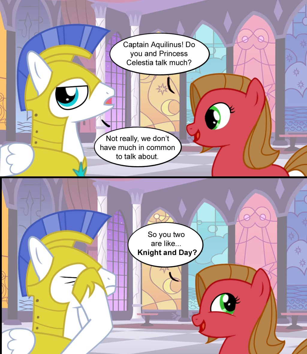 """I can't with these puns guys! &gt;~&lt;"""" ( Credit to whoever made this. ) #brony #mlpfim #mlp #mylittlepony<br>http://pic.twitter.com/QhqmJpfAOM"""