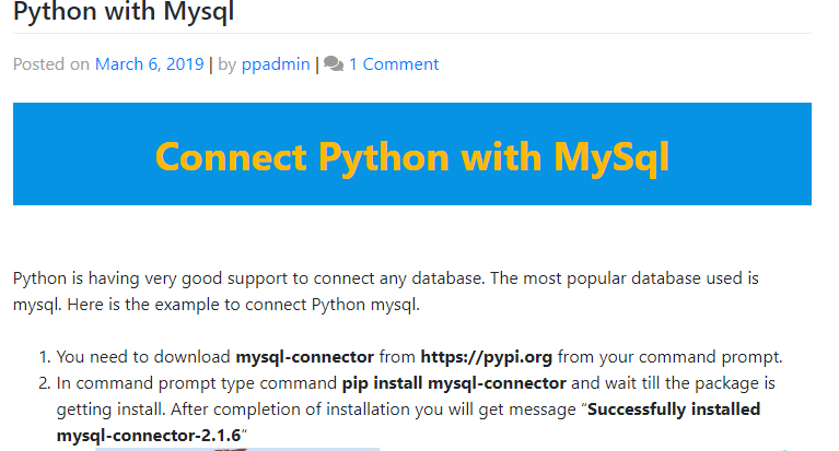 Install mysql connector python using pip | Peatix