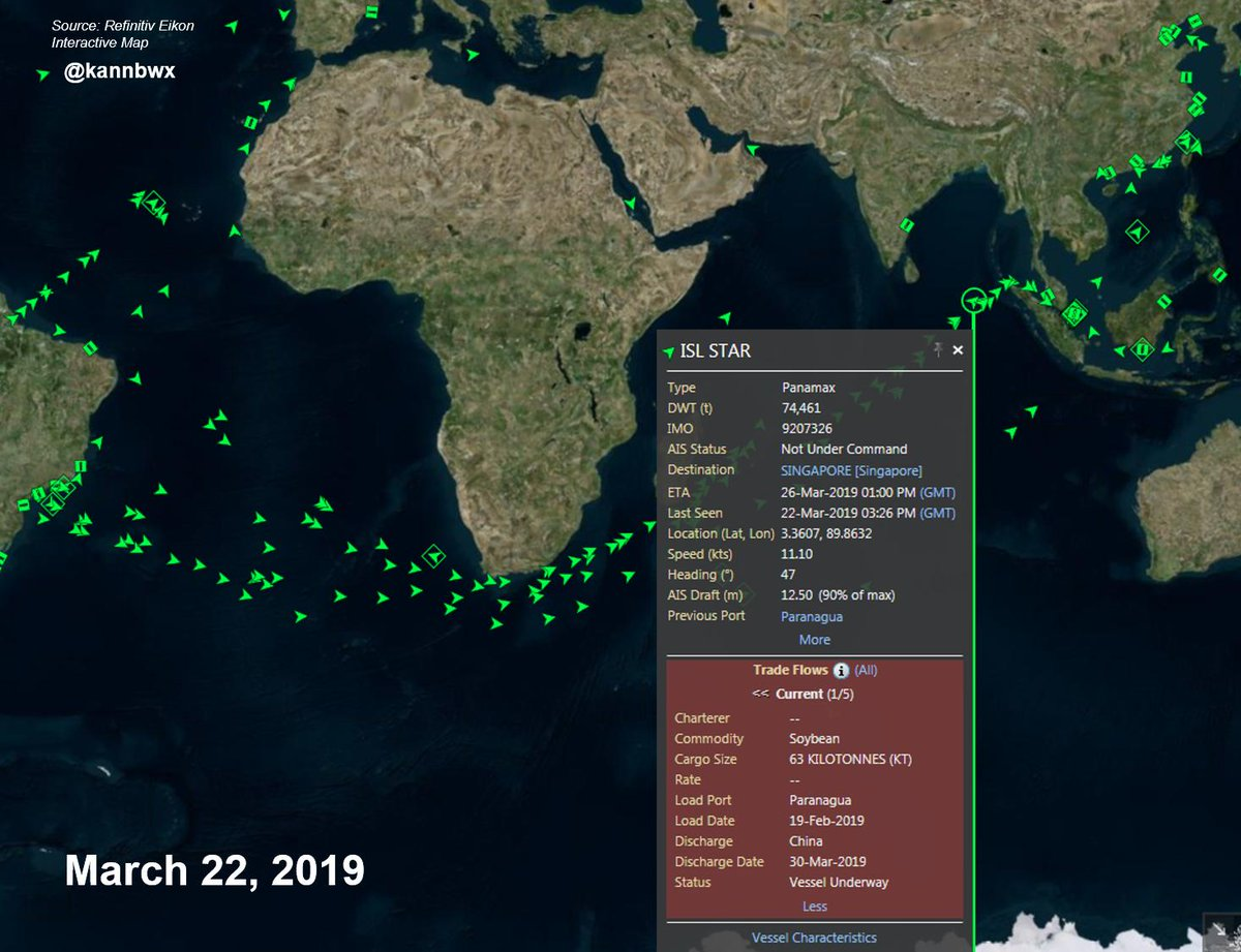 """Karen Braun on Twitter: """"For example, this vessel was loaded with 63K  tonnes of #soybeans in Paranagua, #Brazil on February 19. It will travel to  #China by way of Singapore, dropping off"""