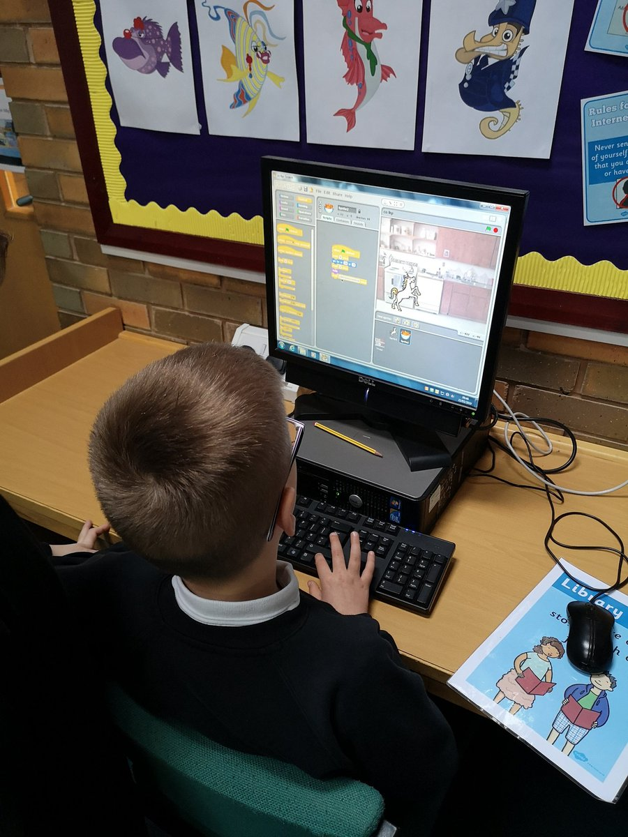 P4 continued to work on their scratch animations today. They are becoming confident at adding the coding scripts to make their characters move and have conversations and change the background. #DunipaceICT