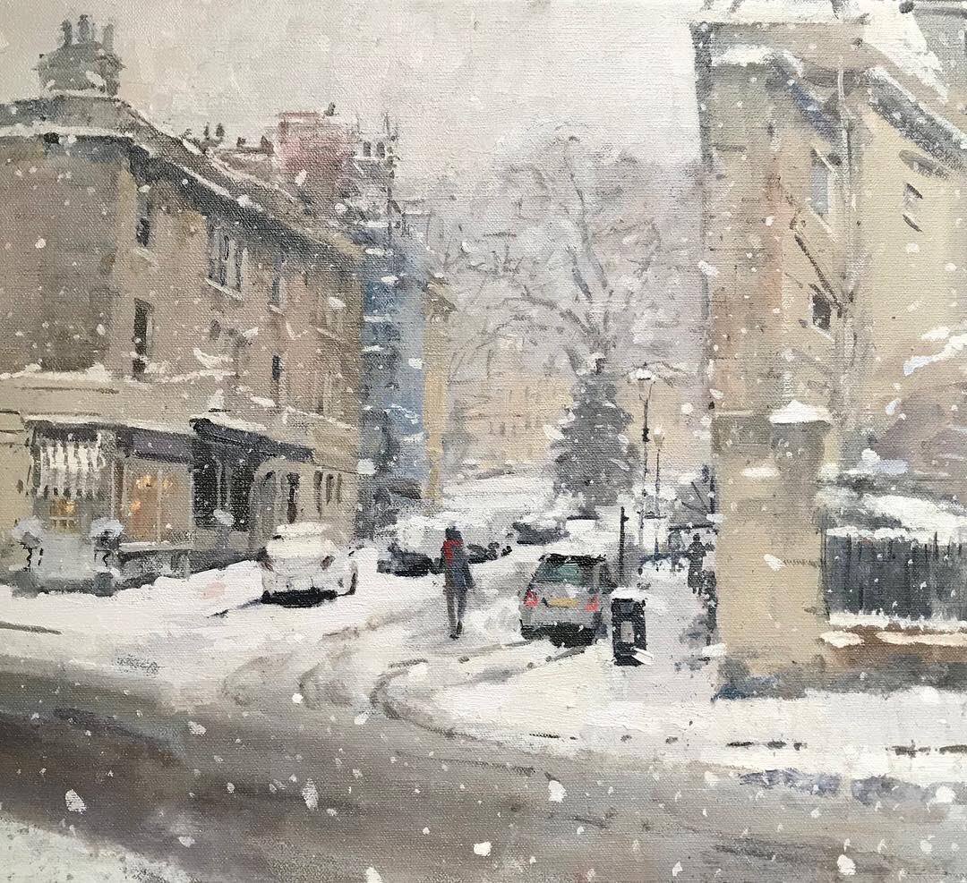 One of those grey days you finish off #snow #snowscene #bath #bathinsnow #pleinairpainter #pleinairartist #pleinairpainting #pleinair #oilpainting #neac #somerset #friday #weekend<br>http://pic.twitter.com/eVBPuwvc89