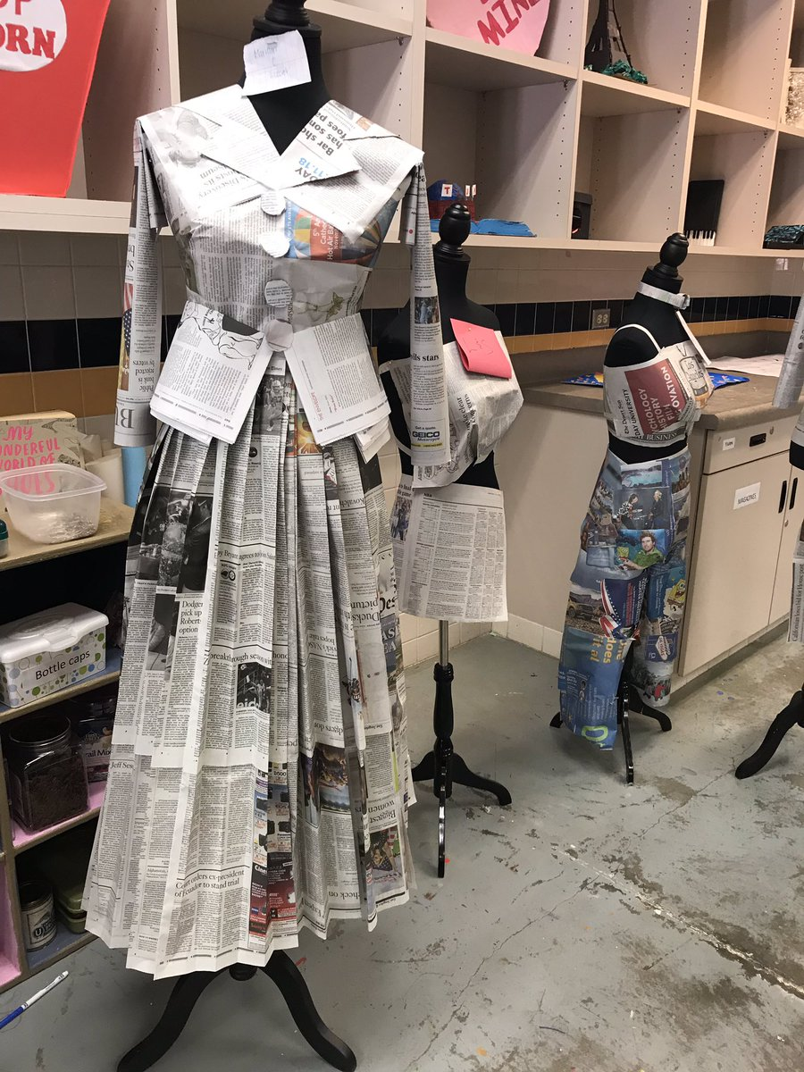 Newspaper challenge in action! Students are to choose an era and create an outfit with it's fashion characteristics. #WatchUsSoar #dhshsfashion #dhshs503 #dhshsartdept<br>http://pic.twitter.com/QTbUgXkywd
