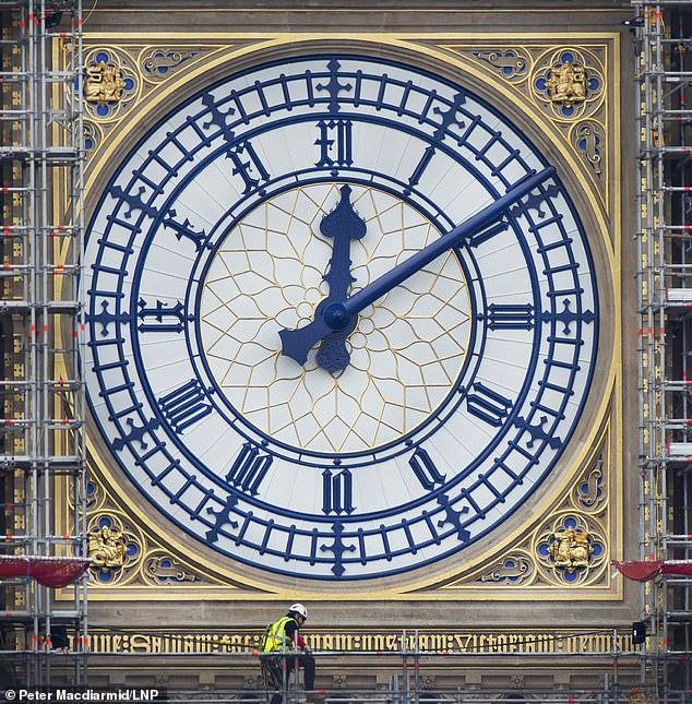 After 100 years of pollution turned the hands black, Big ben looks gorgeous restored to its original colour of Prussian Blue with gold inlay #LondonCalling