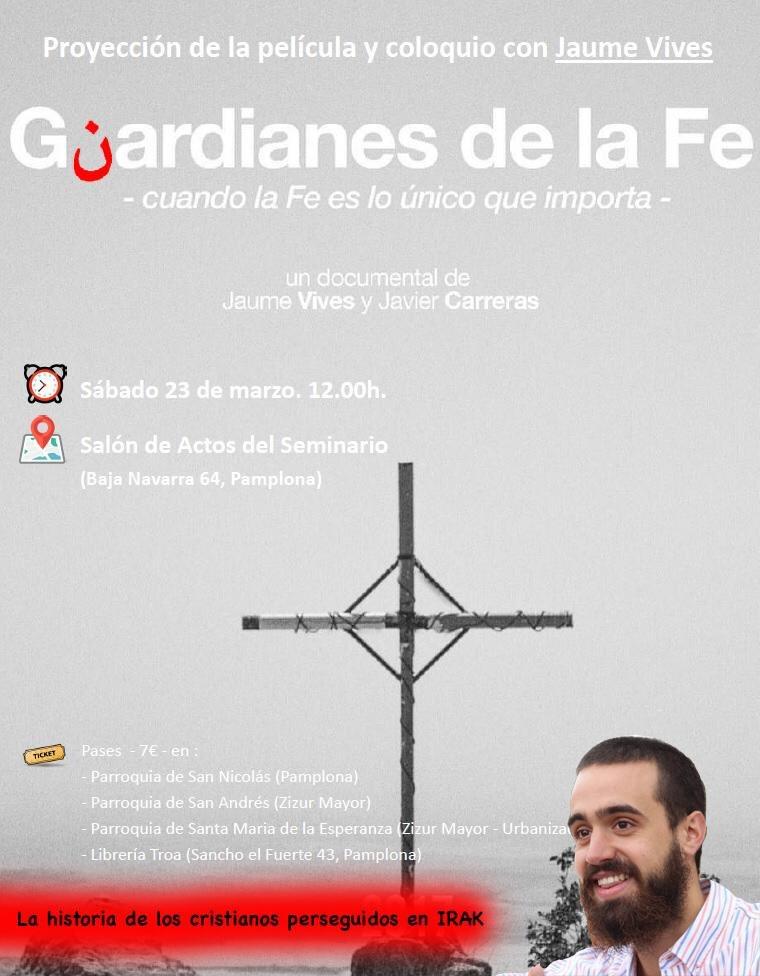 Os mando saludos desde Pamplona 😀👋  Mañana a las 12h nos vemos en la proyección de @GuardianesFe 🎥🙏
