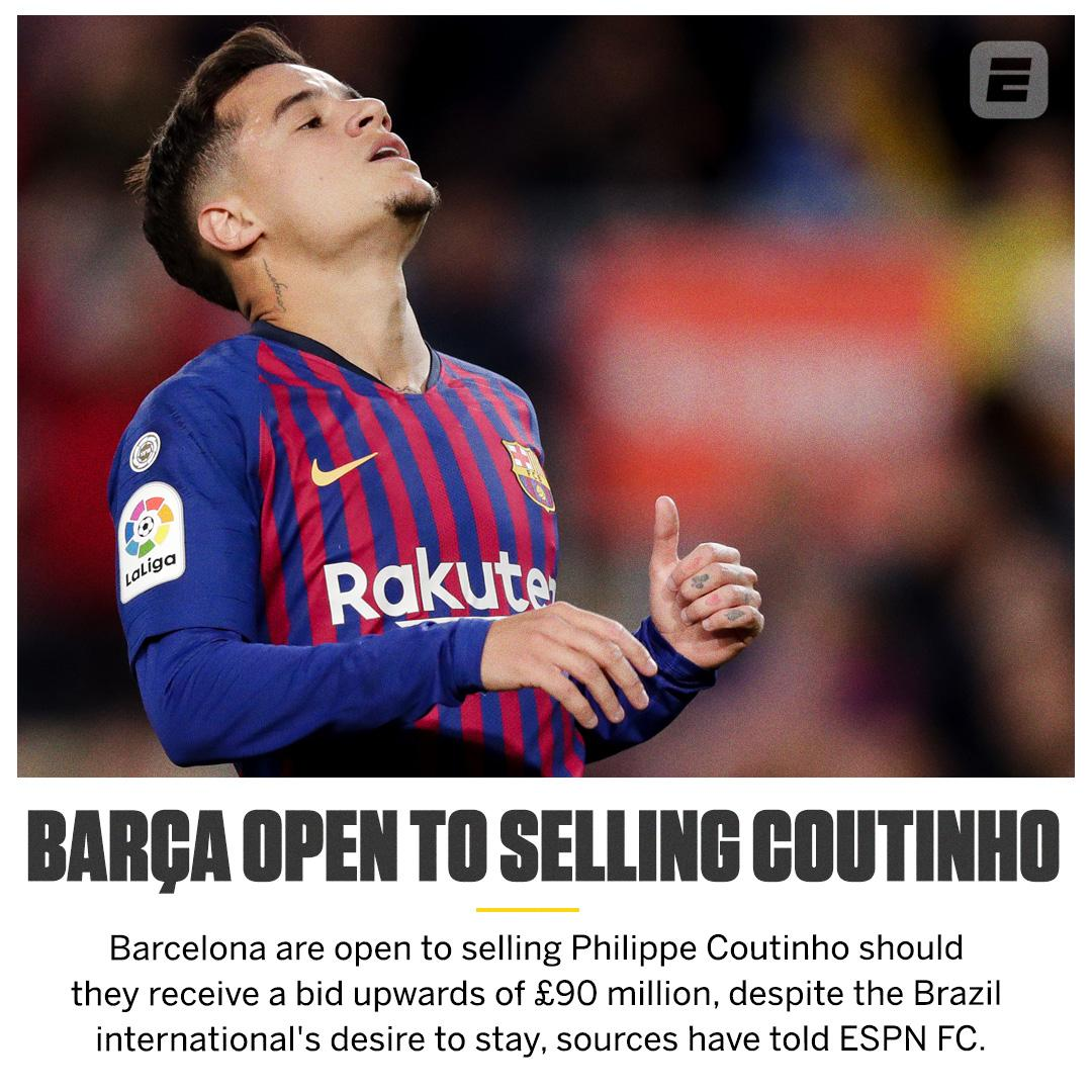Less than 15 months after spending £142m on Philippe Coutinho, @FCBarcelona are ready to sell him.