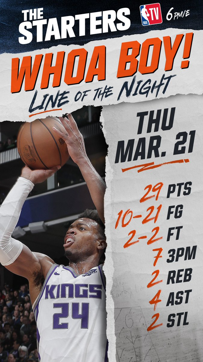 I could've given this to Ja Morant, but the @SacramentoKings @buddyhield wins Thursday's #WhoaBoy of the Night! 💜 #TheStarters