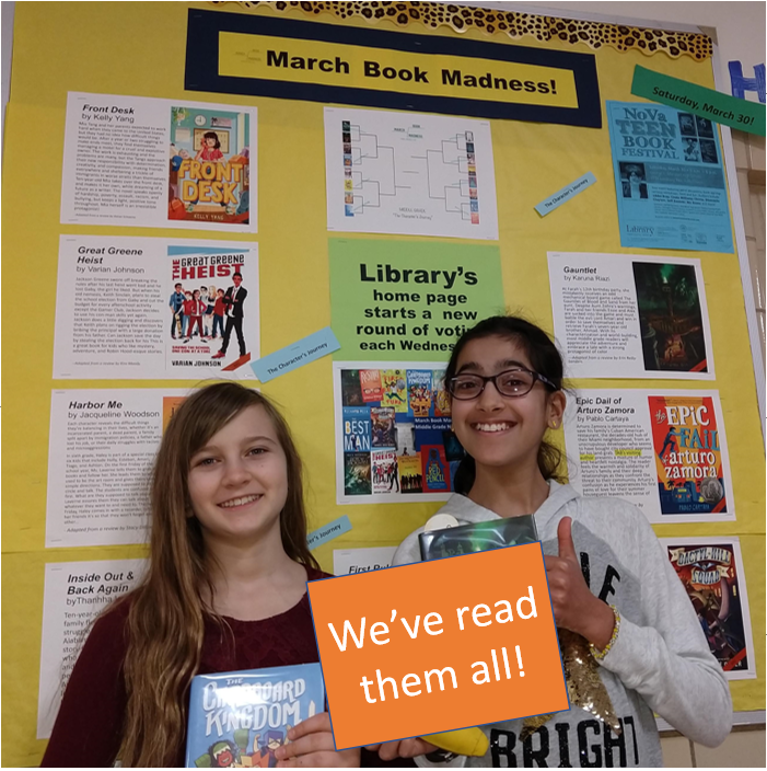 These 2 power readers <a target='_blank' href='http://twitter.com/HBWProgram'>@HBWProgram</a> have read the ENTIRE bracket of 16 middle grade novels for March Book Madness and they vote each Wednesday!  They LOVE Jumbies BY <a target='_blank' href='http://twitter.com/TraceyBaptiste'>@TraceyBaptiste</a> as well as The Cardboard Kingdom by <a target='_blank' href='http://twitter.com/chadsell01'>@chadsell01</a> which is in our LOCAL Final Four! <a target='_blank' href='http://search.twitter.com/search?q=loveHB'><a target='_blank' href='https://twitter.com/hashtag/loveHB?src=hash'>#loveHB</a></a> <a target='_blank' href='http://search.twitter.com/search?q=2019MBM'><a target='_blank' href='https://twitter.com/hashtag/2019MBM?src=hash'>#2019MBM</a></a> <a target='_blank' href='https://t.co/DnyOuFy0Xh'>https://t.co/DnyOuFy0Xh</a>