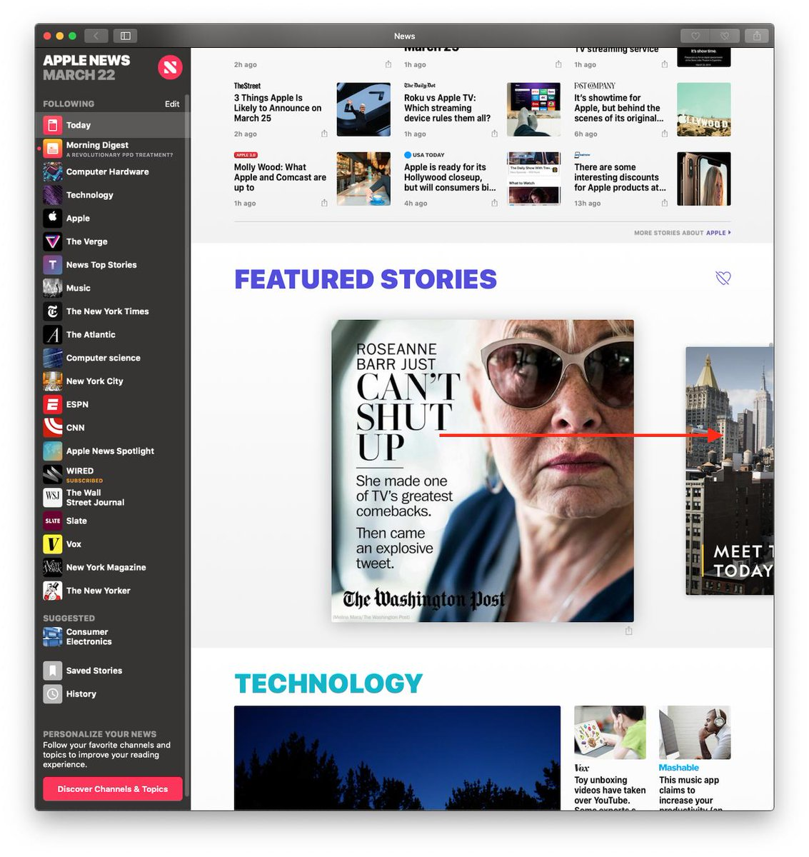 Apple News: I'm playing around with Apple News on the Mac today