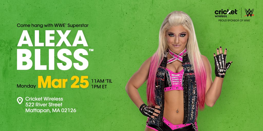 Hey, #Boston! Come hang out with me and @CricketNation on March 25th! Hope to see you there.  http:// mycrick.it/WWEEvent_Boston  &nbsp;   #sponsored <br>http://pic.twitter.com/Oyc0iRMjIC