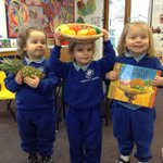 In Nursery we have been reading a book about a girl who takes her friend a gift of fruits in a basket balanced on her head. The children found out how tricky it is to balance a basket of fruit on their heads and used their senses to explore what a pineapple feels and smells like.