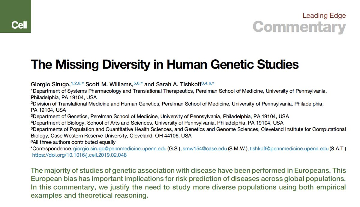For years the #genomics community was fixated on missing heritability. It should have been on missing diversity. https://www.cell.com/cell/pdf/S0092-8674(19)30231-4.pdf… @CellCellPress #openaccess @SarahTishkoff, Giorgio Sirugo, Scott Williams @PennMedicine @CellPressNews