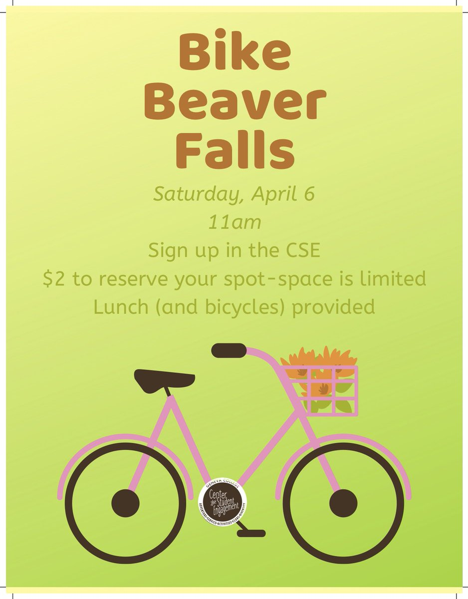 Don&#39;t forget to sign up for Bike Beaver Falls, which will be happening on April 6th! Join us as we explore the hidden gems of BF. Cost is 2 dollars a person, sign up in the CSE. <br>http://pic.twitter.com/Ayq18aetSW