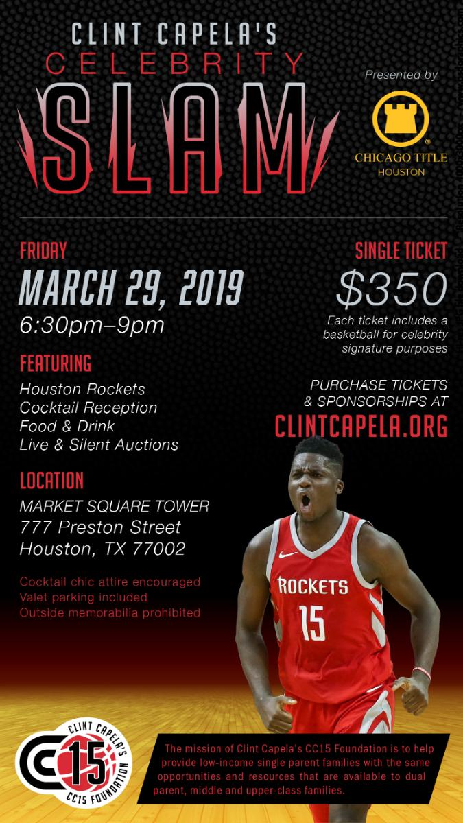 Only one week away from our first ever event for the foundation! I hope you are as excited as we are and we hope to see you there! #CC15 #HoustonRockets @CapelaClint