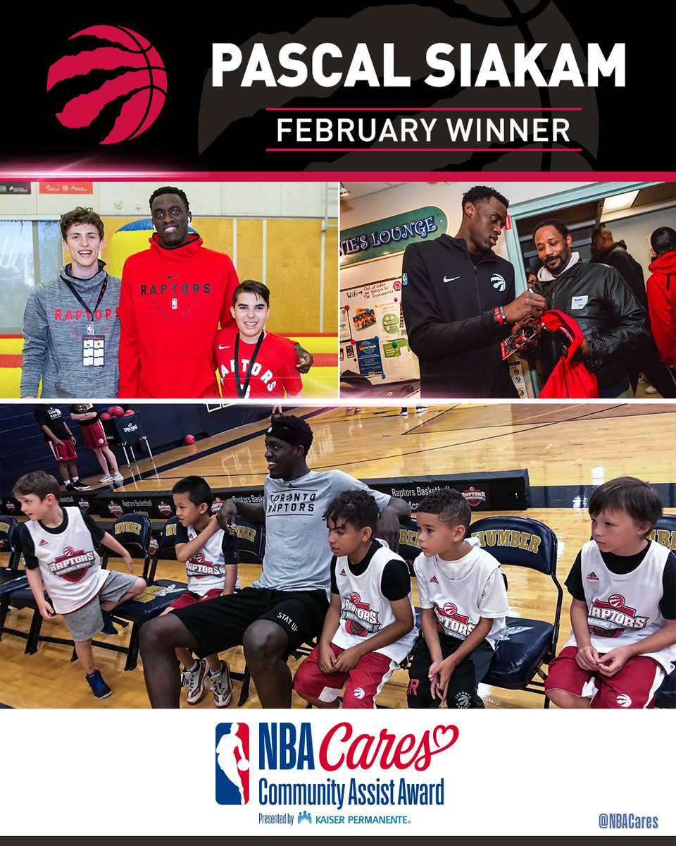 .@Raptors Pascal Siakam (@pskills43) has received the February NBA Cares Community Assist Award presented by Kaiser Permanente (@kpshare) in recognition of his efforts to empower and inspire youth in both local and global communities.  More: http://communityassist.nba.com   #WeTheNorth
