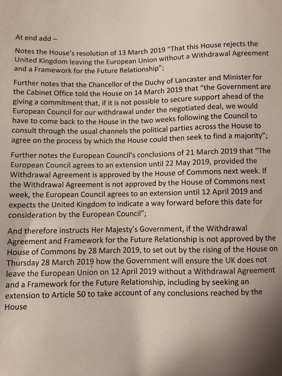 V worried PM still wants her deal or no deal &amp; will run down clock again til we end up with No Deal chaos on 12 April. We've tabled further cross party amendment; if PMs Deal isn't passed, Govt must set out plan to prevent No Deal on 12 April, taking account of indicative votes <br>http://pic.twitter.com/8d1mMdcfGZ
