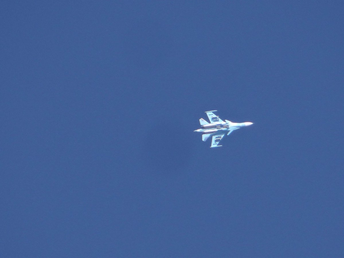 Photo showing Russian warplane Su-34 that is targeting Idlib's countryside.