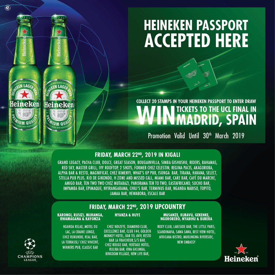 Where would you rather watch the @ChampionsLeague final from? Get your @Heineken passport ready this weekend and stand a chance to watch the #UCLfinal LIVE from #Madrid #Spain  #HEINEKEN® #MadeInRwanda #UCL #UCLdraw #Unmissable #ChampionsLeague #RwOT #Rwanda