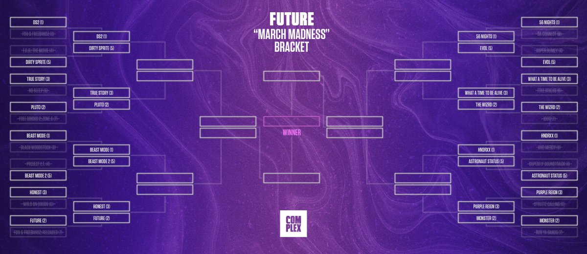 "💎🎶🚨 FUTURE ""MARCH MADNESS"" BRACKET 🚨🎶💎  🗣 ROUND 2 (see our ranking: https://trib.al/V5Wxaof )  Drop your votes for the best @1future project ⬇️ #FutureBracket"