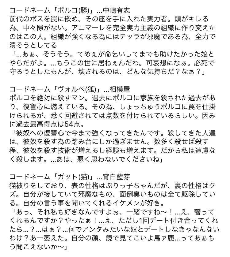 <キャラ設定_動物組> @nakajima7710  @sagami04  @yoishiro_ame  @sudou_kikaku  @asaki36  @bleuport  @kagamisandayo