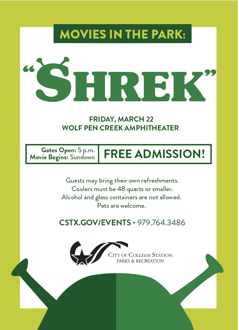 """Bring your blankets, chairs and picnic baskets to Wolf Pen Creek Amphitheater this evening to enjoy watching """"Shrek"""" on our 32-foot inflatable, high-definition screen. Gates open at 5p. Movie starts at sundown. Admission is free! #bcstx #TAMU"""