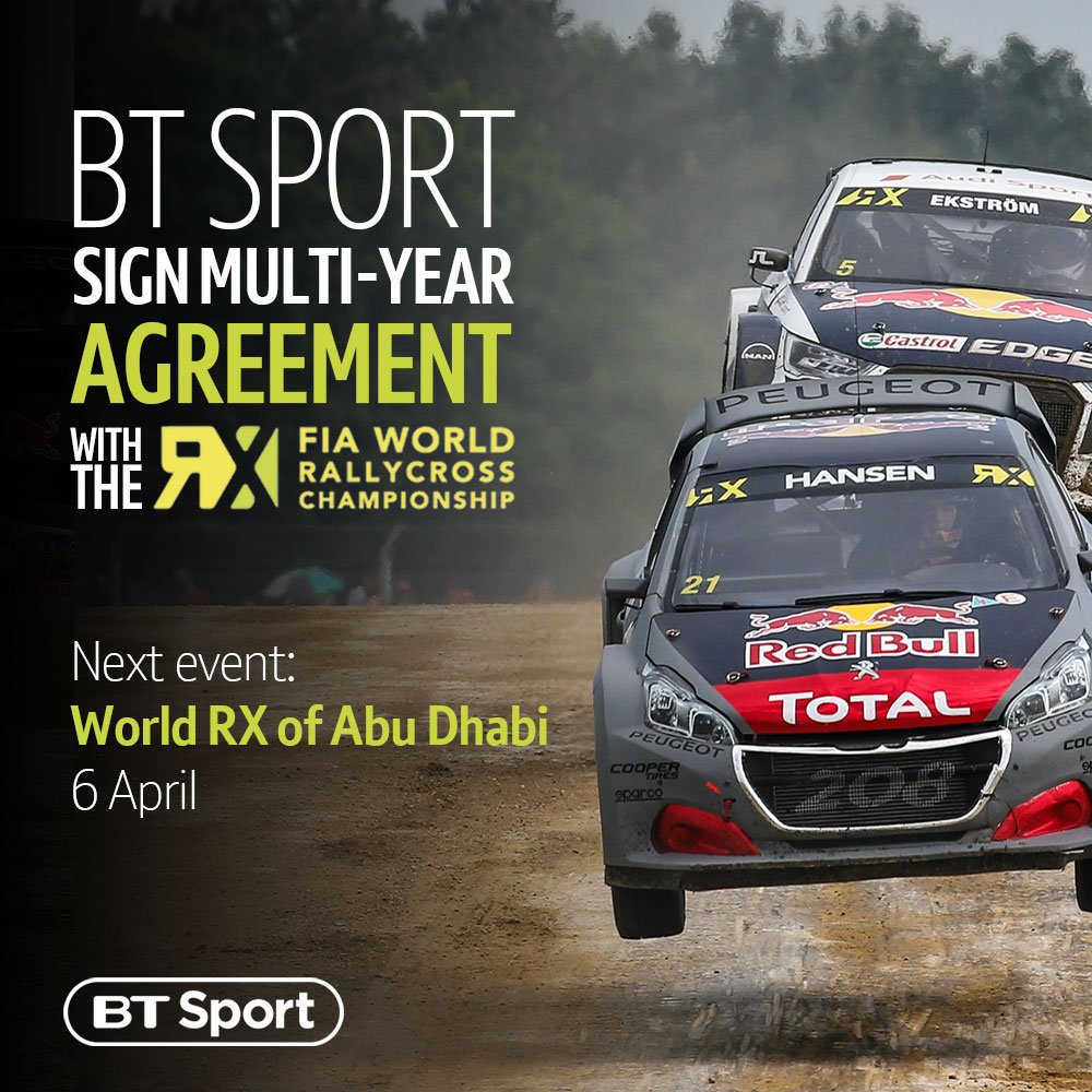 BT Sport has signed a multi-year agreement with the FIA World Rallycross Championship 👊  First stop, Abu Dhabi 📍