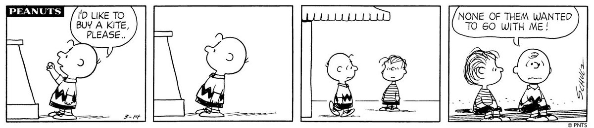 Kite season is off to a rocky start for Charlie Brown…. This Peanuts strip was first published on March 14, 1970. <br>http://pic.twitter.com/9kTa8hPSVE