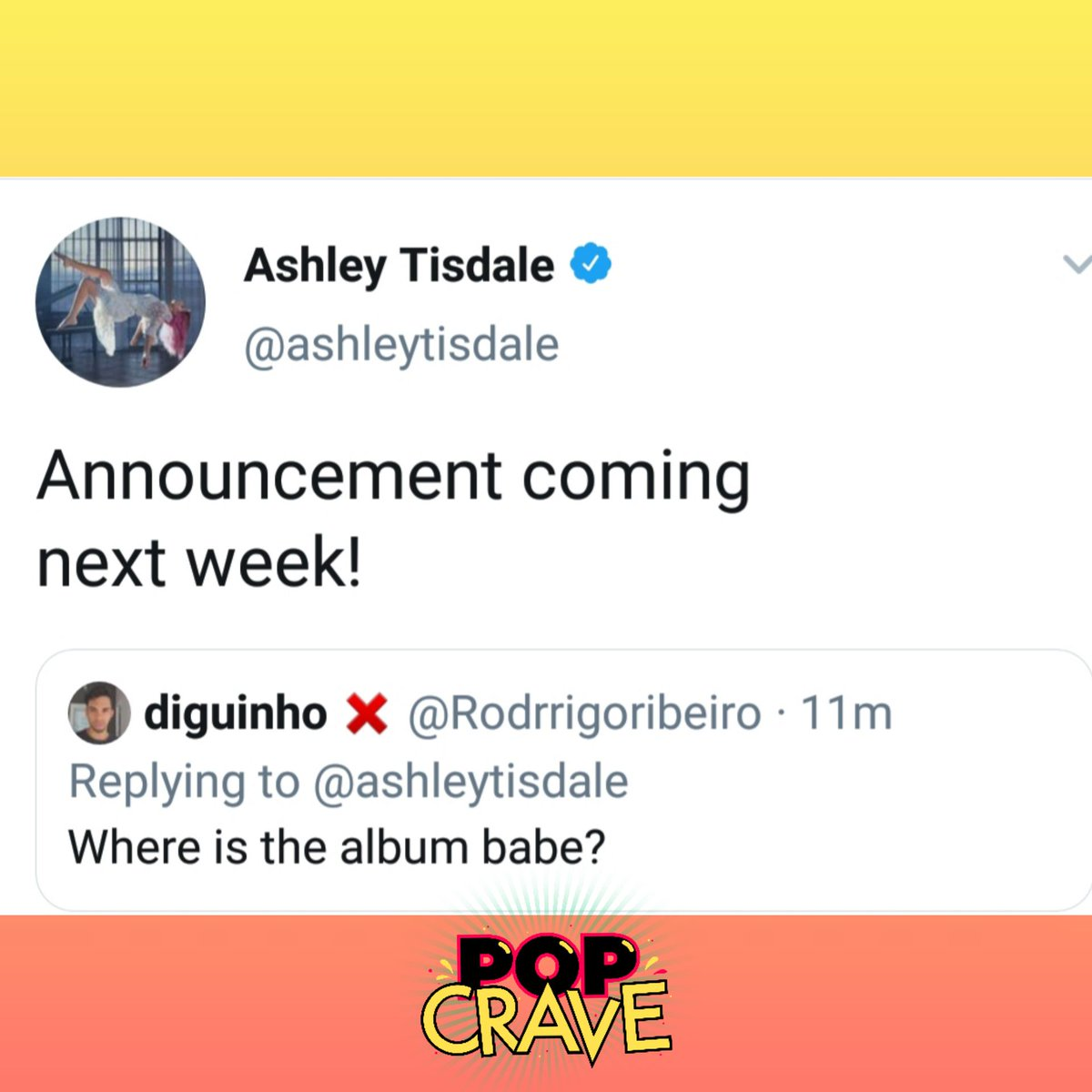 An announcement about @AshleyTisdale&#39;s third studio album, #Symptoms, is coming next week.<br>http://pic.twitter.com/7hcOd8K5o8