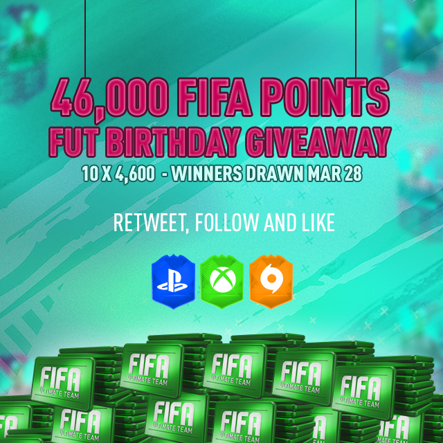 It's the 10th FUT Birthday, and from what we've seen it's gonna be a big one! We wanted to get in on the action, and hence we have a BIG giveaway for our community! RT, Follow & Like to Enter. Winners drawn on March 28th! #FIFA #FIFA19 #FUT #FUTBirthday https://t.co/mpvUnU1ELy