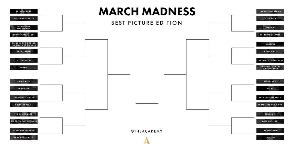 The March Madness #Oscars Best Picture bracket, selected by you, is here!  Vote in the threads below. <br>http://pic.twitter.com/bTjxQFyUE4