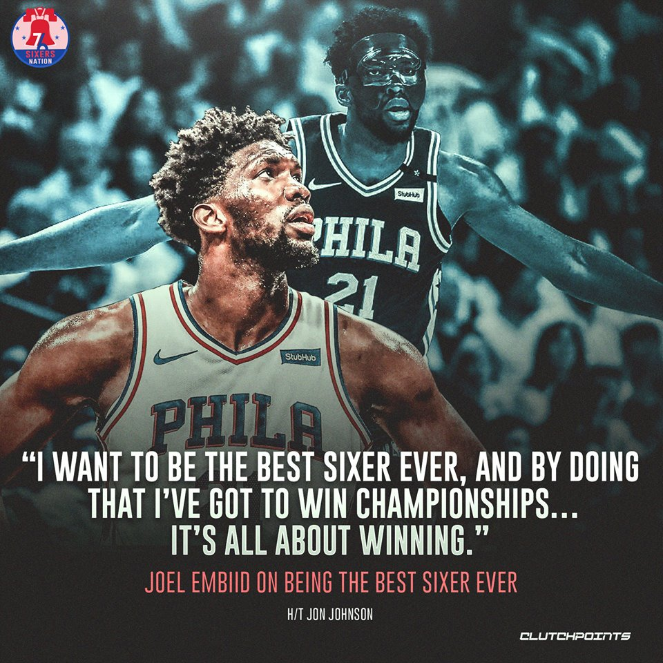 Joel Embiid has eyes set surpassing the likes of Julius Erving, Charles Barkley, and Moses Malone in #76ers' lore.  #Heretheycome