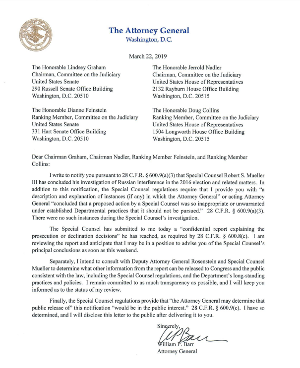 See Attorney General Barr's letter to lawmakers stating that he has received Mueller's Russia probe report: https://reut.rs/2JyLRKk