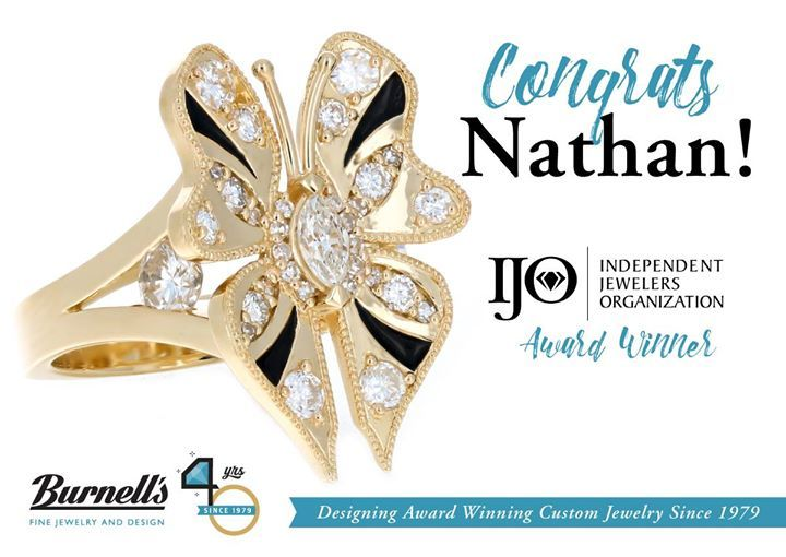 Congrats Nathan on winning Honorable Mention for his piece at IJO's jewelry design competition this past week in Phoenix 🎉 Nathan worked closely with Pat J. to design this custom butterfly ring using stones from her own collection, creating something… https://ift.tt/1Bvvodk
