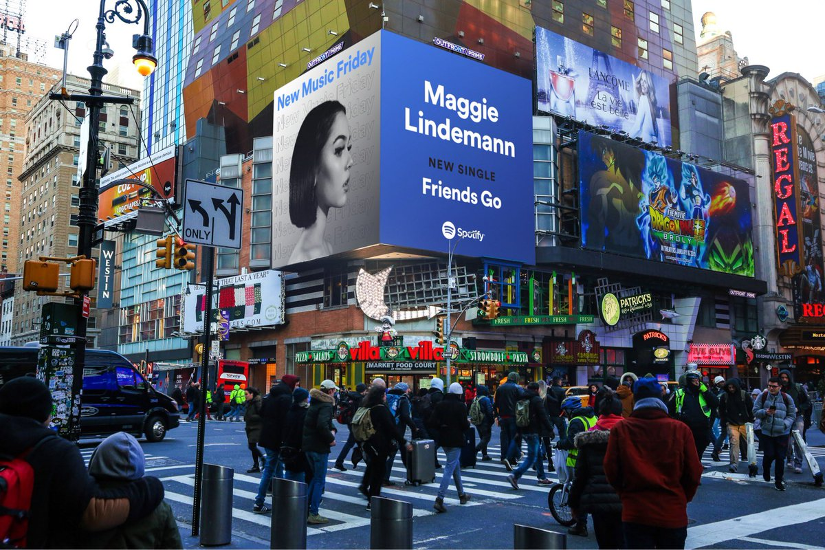 new music friday billboard in Times Square (இ﹏இ`。) thank you so much @spotify  hope everyone is enjoying 'Friends Go' &lt;3<br>http://pic.twitter.com/2x82k1du4B