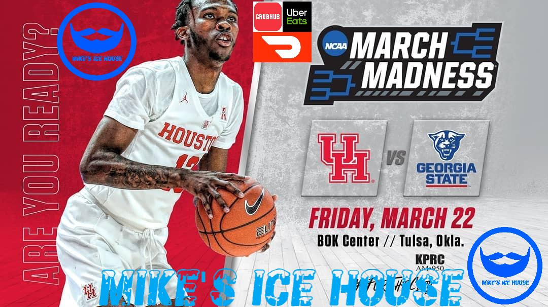 # 14 Georgia State @ # 3 Houston Cougars 6:20 PM  # 6 Spurs @ #3 Rockets 7:00 PM  #houstonrockets  #houstonastros  #nhl  #nba #soccer  #happyhour #beer  #mikesicehouse #foodies #marchmadness #bbq #karaoke #SundayFunday #burgers  #thebarwiththebeard
