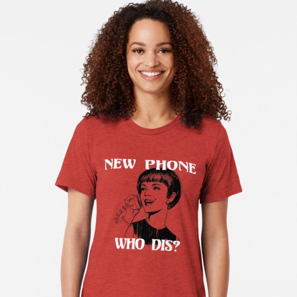 """""""New Phone, Who Dis?"""" Clink the link 👇 https://www.redbubble.com/people/texterns/works/37849516-new-phone-who-dis?asc=u&p=triblend-tee… #NewPhoneWhoDis #urban #retro #funny #tees #shirts #redbubble #phone #text #message #relationships #funnytees #urbandictionary #dis #whodis"""