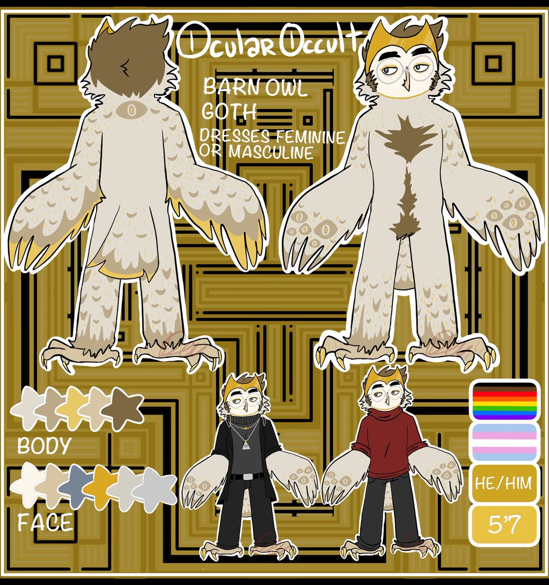Alright my full fursona ref!! He is also called Devin and he's a creepy goth barn owl with some spooky magic shit goin on. #fursona #FurryFriday <br>http://pic.twitter.com/nJNC779GLD