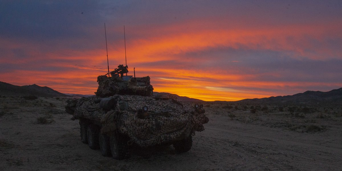 Sitting Guard with the Setting Sun  A Light Armored Vehicle with @2dMarDiv sits in a guard position during training at @NTC_UPDATE.