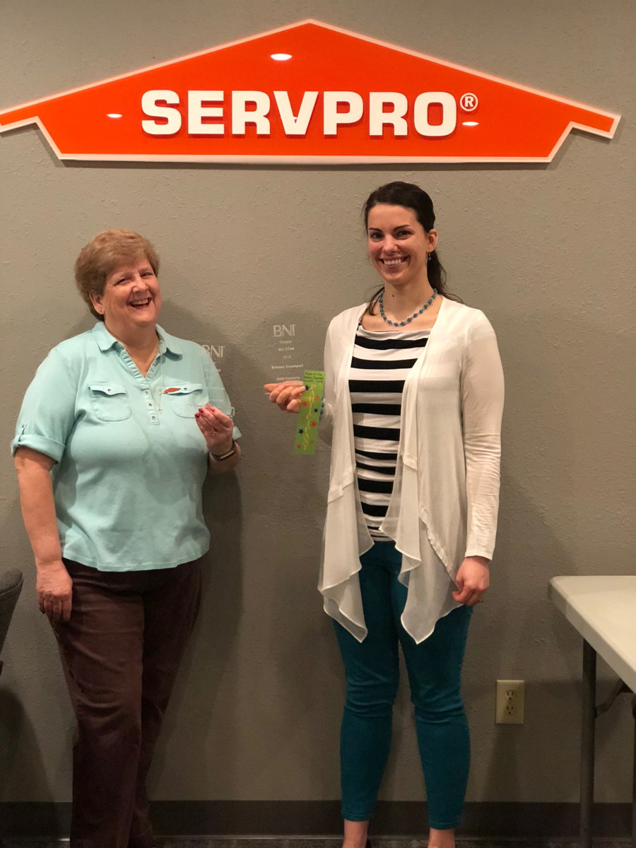 See this Mother & Daughter duo, these two #SERVPRO #heroes? Please give them a round of applause. Sandy won the 2018 #AllStar award in her #BNI group, and Brittany won the #AllStar award in her #BNI group. How awesome! This is a special moment. Congratulations, Sandy & Brittany.