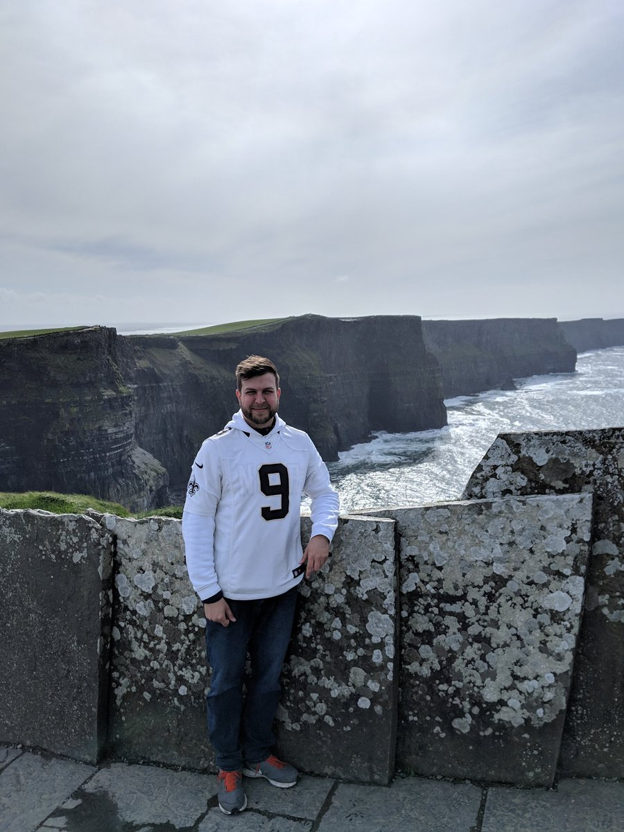Finally knocked off one of my top bucket list items!   -- Cliffs of Moher, Ireland  And of course I had to represent the @Saints @drewbrees #WhoDat<br>http://pic.twitter.com/n7Vq3E3odC