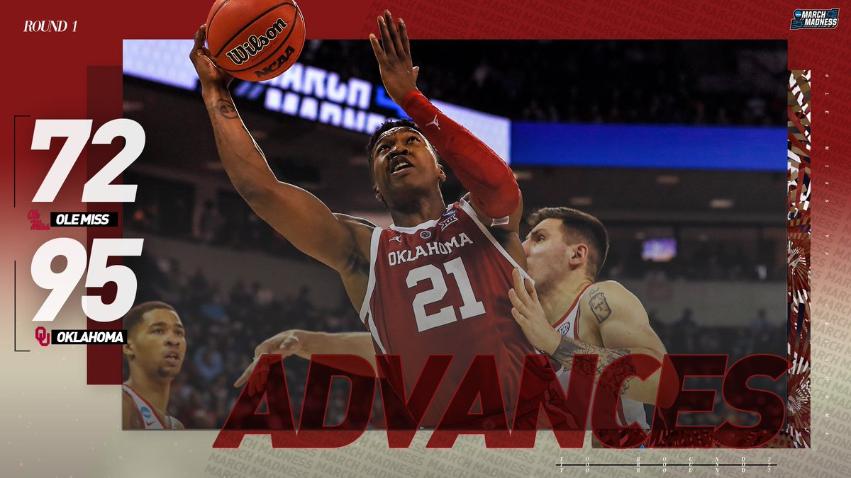 #Sooners SMASH the Rebels!  (9) Oklahoma lights up (8) Ole Miss for 95 & advances to Round 2! #MarchMadness