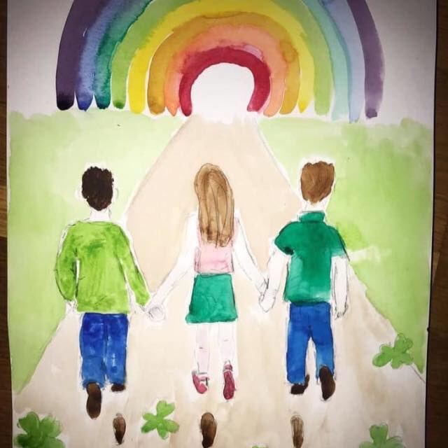 """Today we said goodbye.  """"Those we love don't go away, they walk beside us every day. Unseen, unheard but always near, still loved, still missed but always near.""""  Painting by Emma NicGabhann  Ar dheis Dé go raibh a n-anamacha"""