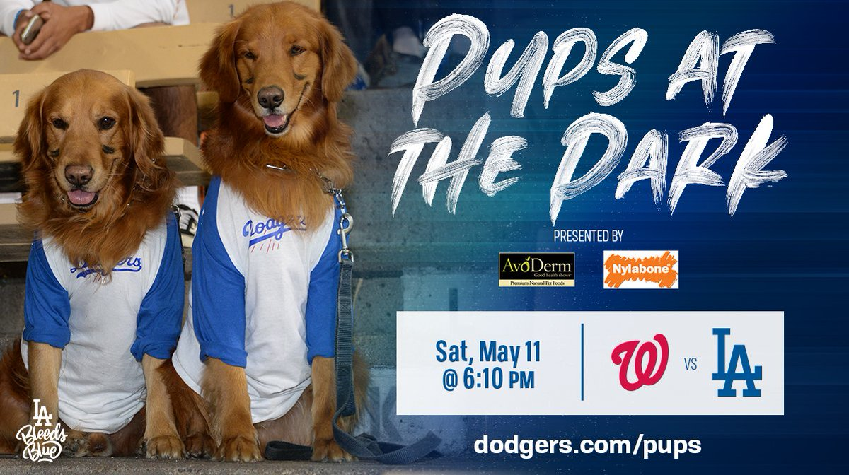 It's #NationalPuppyDay? Please send us photos of your Dodger dogs.   Also, please bring them to Dodger Stadium on 5/11 for Pups at the Park presented by AvoDerm Natural and Nylabone. http://atmlb.com/2o2SlUt