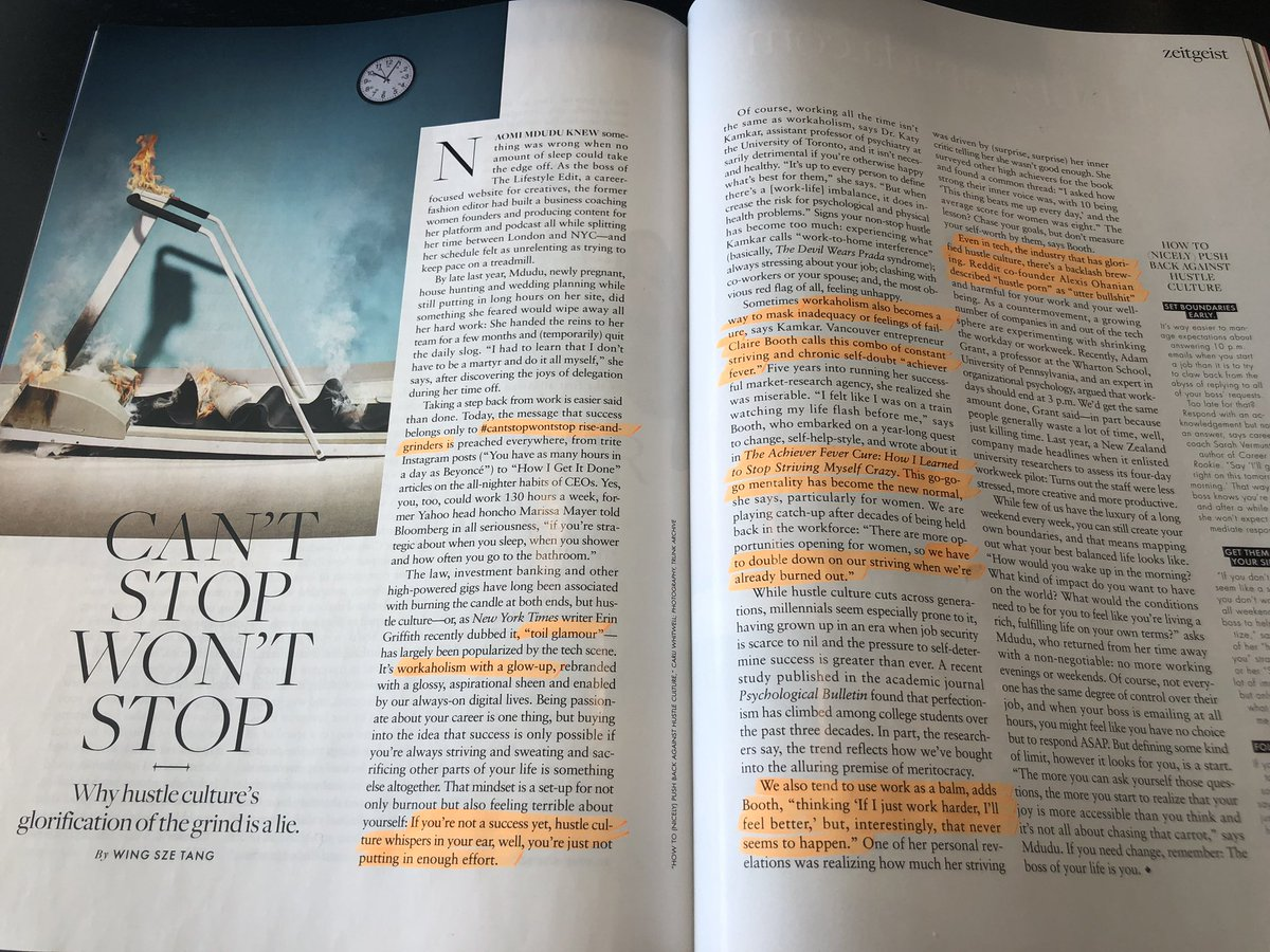 This month's @ElleMagazine article on Hustle Culture is beautiful. As I speak on curing our Achiever Fever, I have become increasingly aware of a fetishization of busy-ness: #Hustling is a fast track to misery  @alexisohanian @sarahvermunt @katykamkar @wingszetang