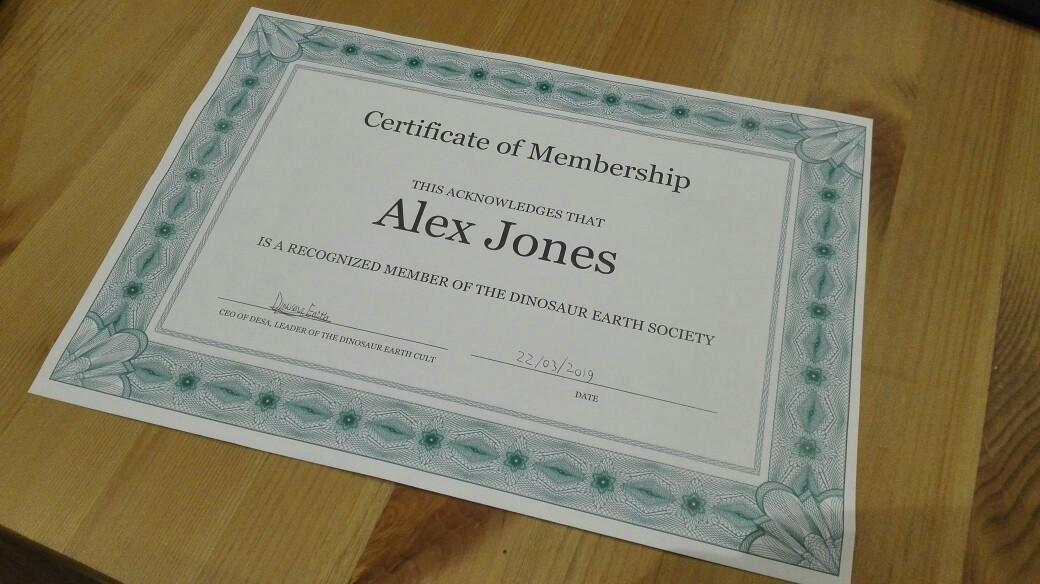 Retweet this tweet to win a personalized certificate of membership of the dinosaur earth society!  You&#39;re not eligible to win if you don&#39;t follow the one true earth society. This rare item is only meant for true believers.  Three winners will be picked on 27/03/2019 <br>http://pic.twitter.com/oqx4EwQu15