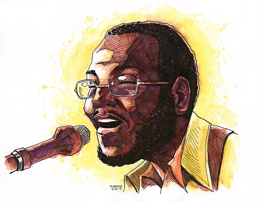 Had some rare freetime last weekend &amp; worked up this #ink n #watercolor #CurtisMayfield from a 1972 performance I found on utube (he had an amazing band at that time). <br>http://pic.twitter.com/trVPWds2Sx