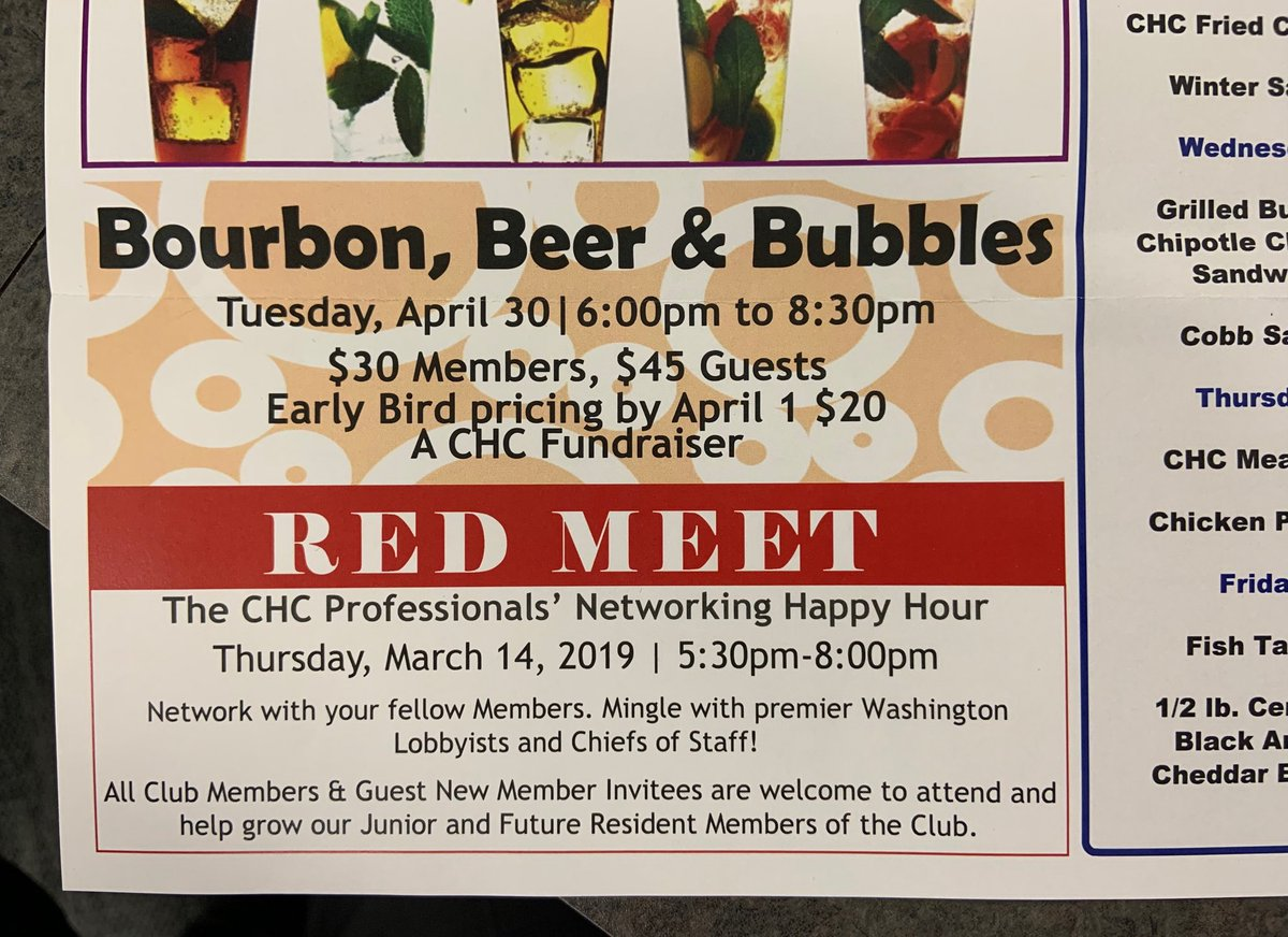 """DISPATCH FROM THE SWAMP: The National Republican Club of Capitol Hill — in its newsletter named the """"Trumpeter"""" — advertises happy hour opportunity to """"mingle with premier Washington lobbyists and chiefs of staff!"""""""