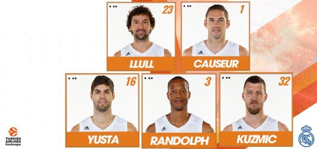 🏀🆙 Salto inicial en el Buesa Arena. El partido de la jornada 28 de @EuroLeague ya está en marcha. Nuestro quinteto para medirnos al @Baskonia es: 2️⃣3️⃣ @23Llull  1️⃣ @FCauseur1  1️⃣6️⃣ @santiagoyusta  3️⃣ Anthony Randolph  3️⃣2️⃣ Kuzmic #GameON   #RMBaloncesto