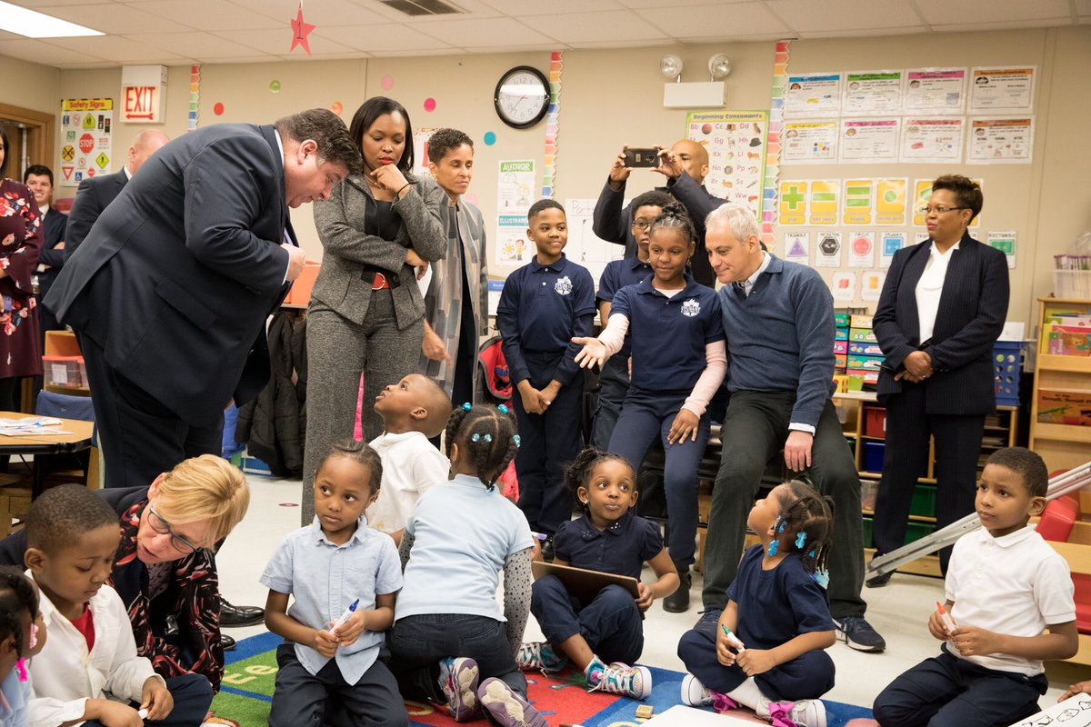 Together, we are achieving the goal that every child in Chicago will be defined not by zip code or family income, but by their promise & potential. Next year, every 4-year old in 28 communities will have full-day pre-k. We've started with some of our areas with the highest need.
