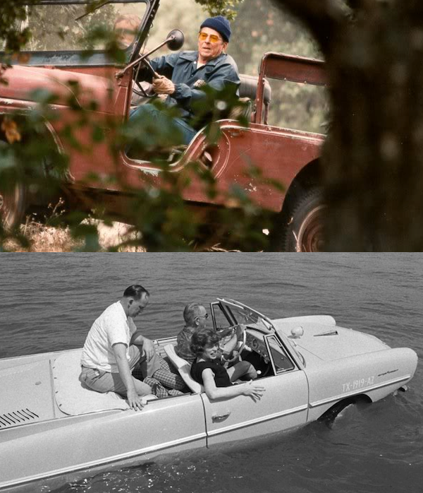 Happy Presidents Day! Fun fact: Lyndon Johnson offered rides in his Amphicar and Ronald Reagan was an avid trail rider! #presidentsdayweekend #presidentsday