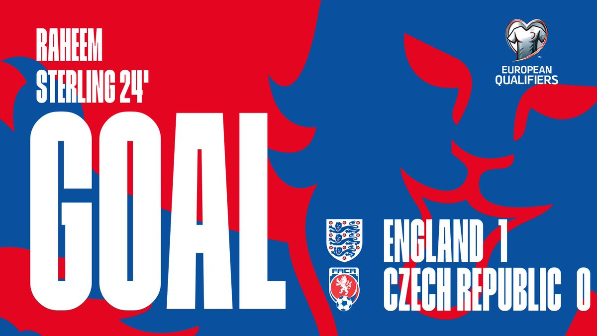 GET IN! 🙌  The #ThreeLions break the deadlock as @Sanchooo10 squares for @sterling7 to slide home the opener.